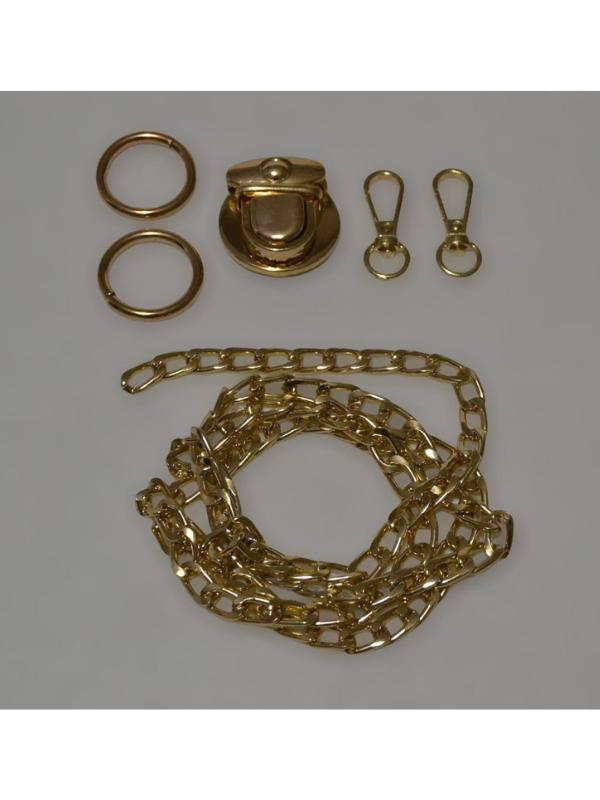 Gold Yellow Metal Bag Set-Kit