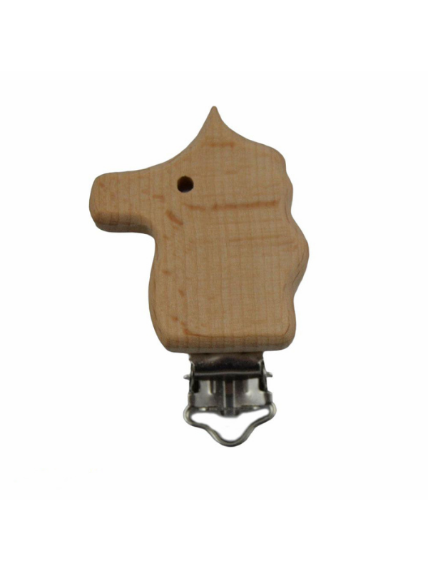 Horse Figured Natural Wooden Pacifier Clip