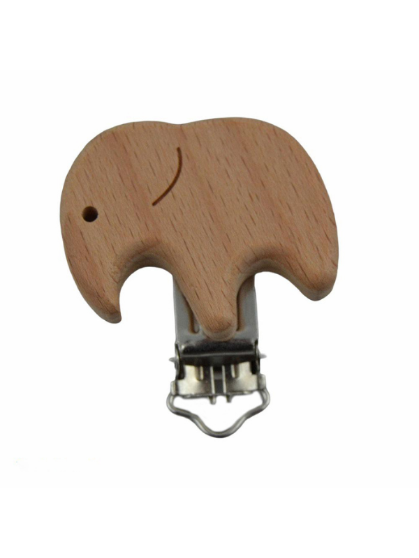 Elephant Figured Natural Wooden Pacifier Clip