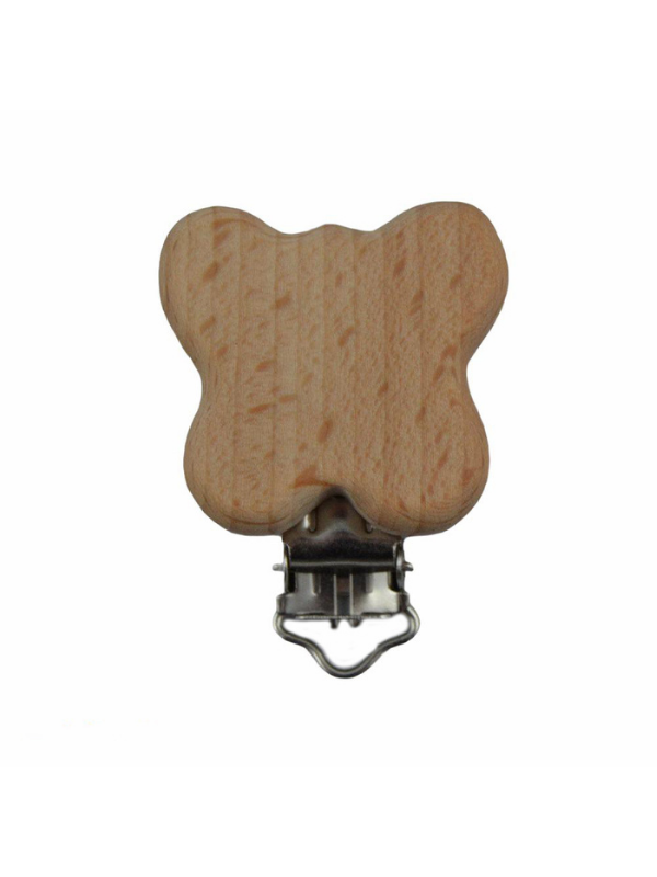Natural Wooden Pacifier Clip with Butterfly Figure