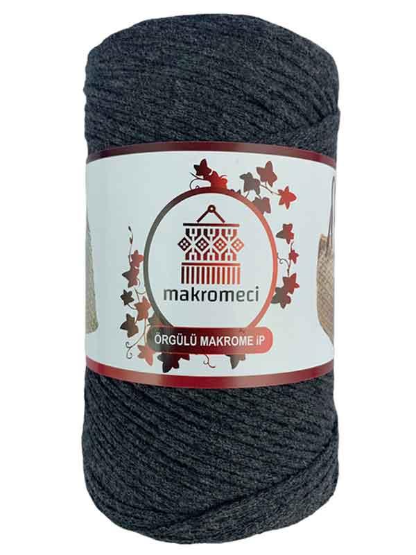 Cotton Knit Macrame-Anthracite Smoked
