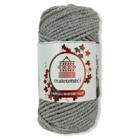 Macrame Rope 3 mm Double Twisted-Light Grey