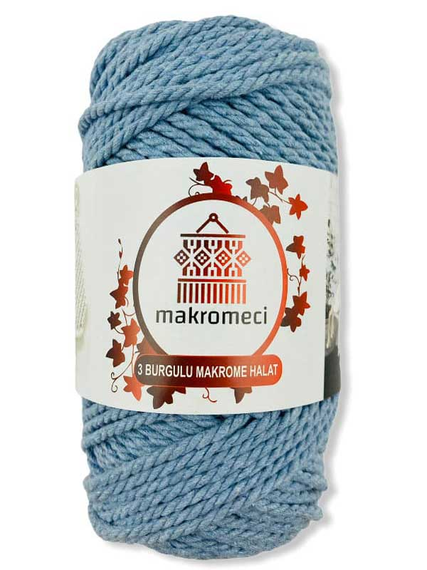 Macrame Rope 3 mm Double Twisted-Baby Blue