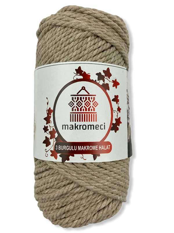 Macrame Rope 3 mm Double Twisted-Beige