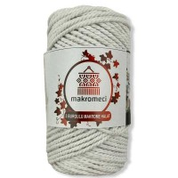 Macrame Rope 3 mm Double Twisted-White