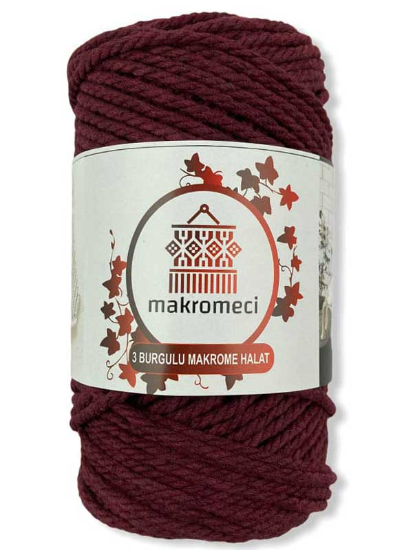 Macrame Rope 3 mm Double Twisted-Claret