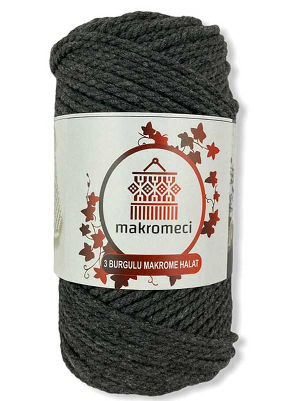 Macrame Rope 3 mm Double Twisted-Anthracite