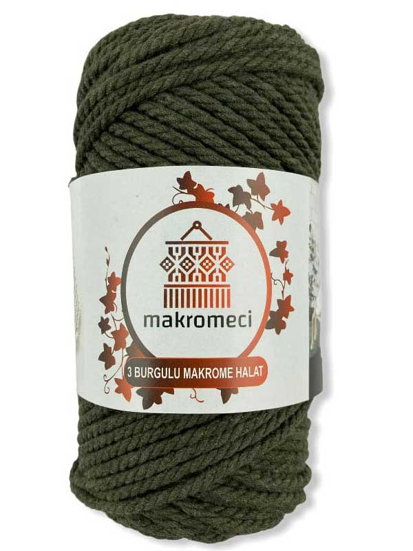 Macrame Rope 3 mm Double Twisted-Khaki Green