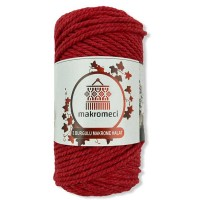 Macrame Rope 3 mm Double Twisted-Red
