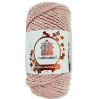 Macrame Rope 3 mm Double Twisted-Powder Pink