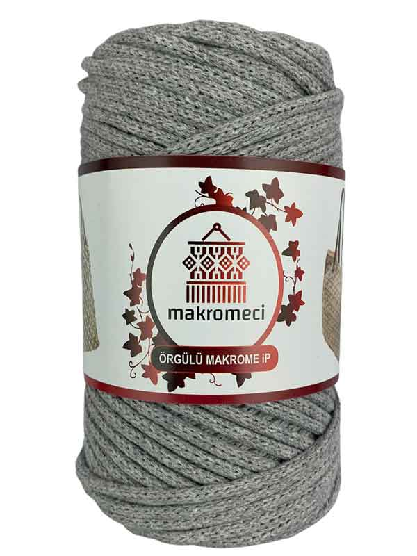 Cotton Braided Macrame 3 mm-Light Grey