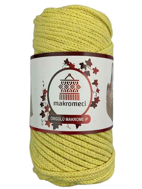Cotton Braided Macrame 3 mm-Light Yellow