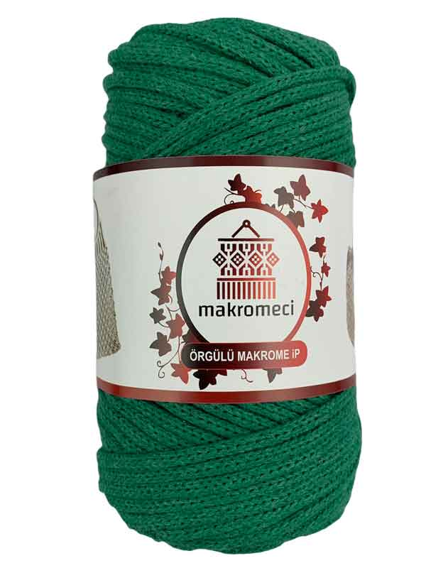 Cotton Braided Macrame 3 mm-Benetton Green