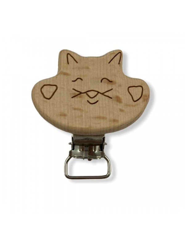 Natural Wooden Pacifier Clip With Cat Figure