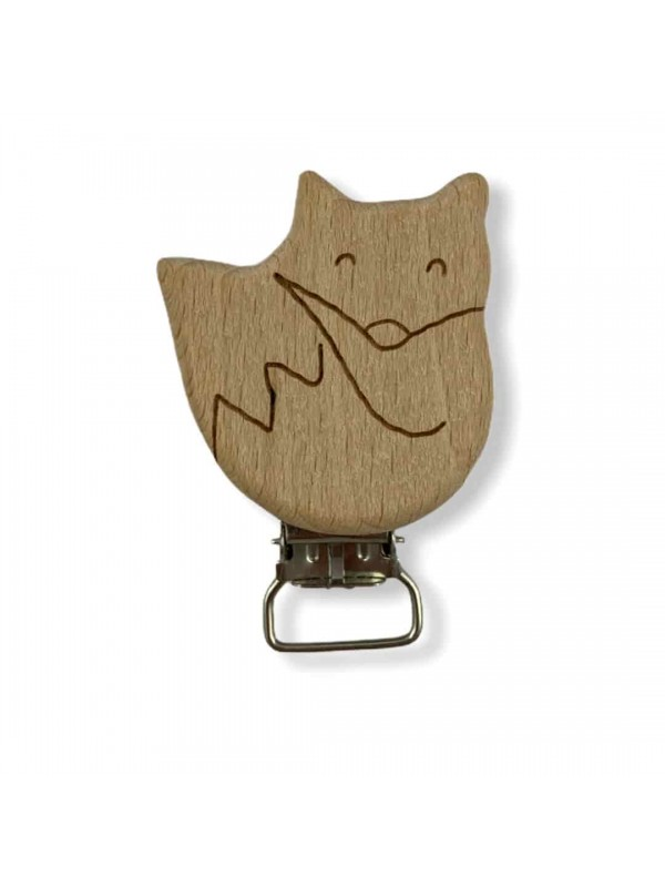 Cats figured Natural Wood Pacifier Clip